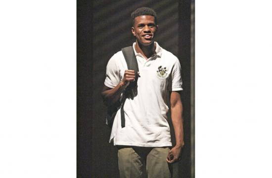Jeremy Pope reprises his role as Pharus in Tarell Alvin McCraney's 'Choir Boy' on stage at the Geffen Playhouse.