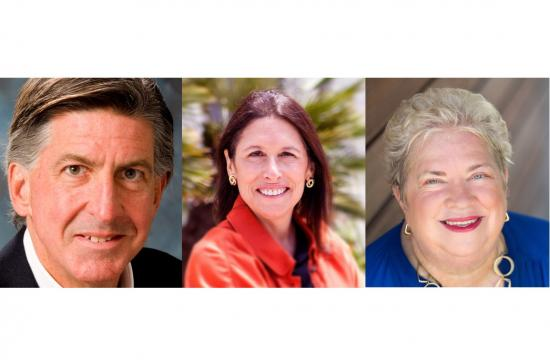 The new face on the Santa Monica City Council will be Sue Himmelrich (center) who was elected alongside incumbents Kevin McKeown and Pam O'Connor.