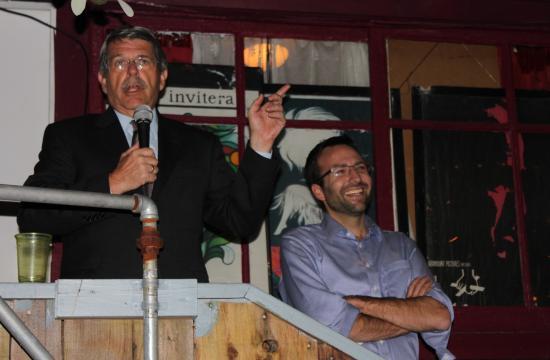 Zev Yaroslavsky at state Senator-elect Ben Allen's election night party in Santa Monica.