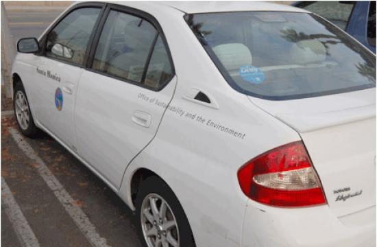 A City of Santa Monica vehicle with a 'Dirty Car Pledge' sticker.