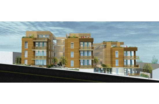 A rendering of the 32-unit housing projected approved Tuesday night for 1112 Pico Blvd.