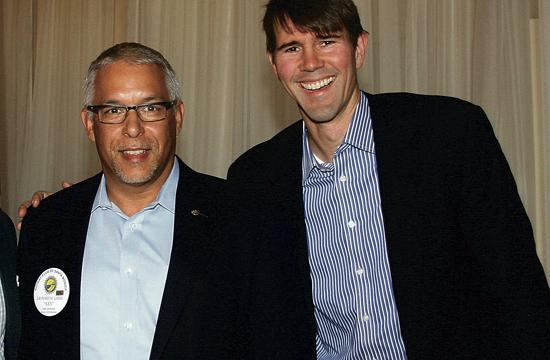 Rotarian VP of Programs Len Lanzi (left) with guest speaker Todd Hickman.