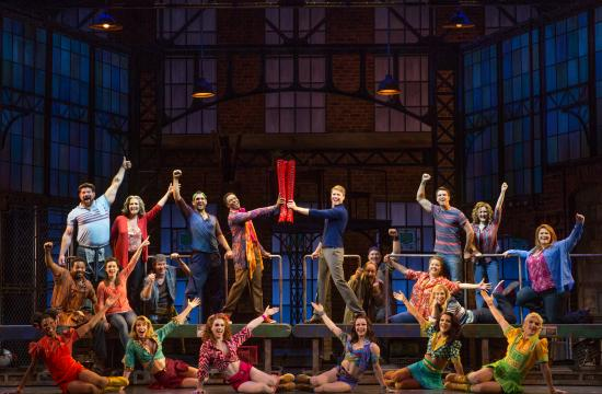 The cast of 'Kinky Boots' is on stage at the Pantages Theatre in Hollywood now through Nov. 30
