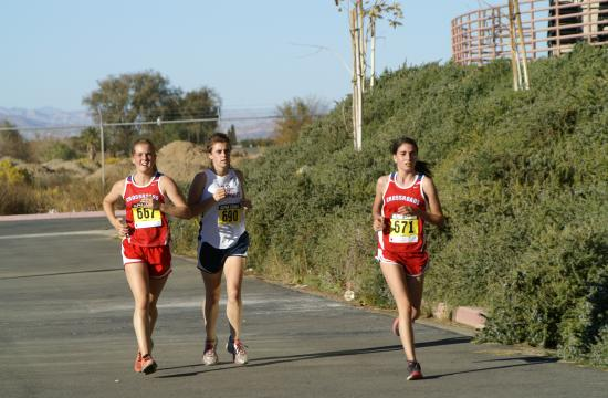 Crossroads cross country runners in action - Lily Markle and Soofie Motamedi.