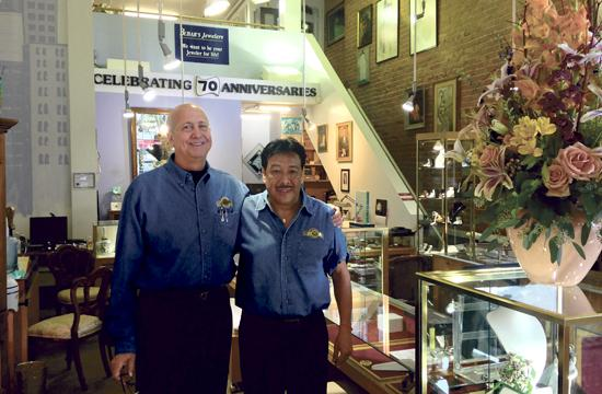 Bubar's Jewelers owner Bill Bubar (left) and jeweler Leonel Zepeda. The family-owned business has been serving the Santa Monica community since 1945.