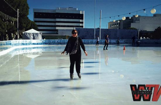Hot Flash columnist Barbara Bishop glides at the ICE at Santa Monica rink.