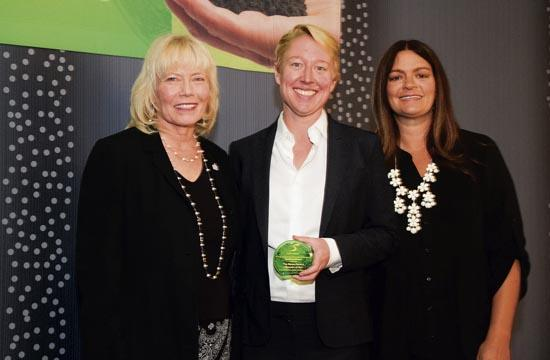 Claire Ruud of Santa Monica Museum of Art with Chamber president Laurel Rosen and Shannon Perry of the Office of Sustainability and the Environment for the City of Santa Monica.