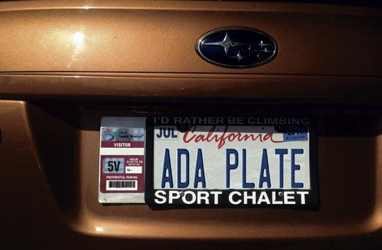 The Adaplate mounts quickly and easily to back license plates for the easy display of sticker parking permits.