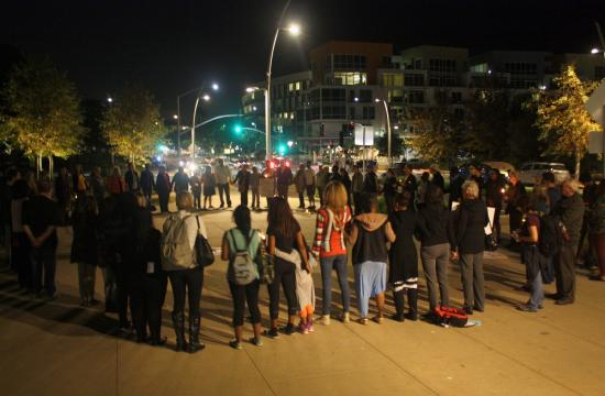 A vigil was held Tuesday night in Santa Monica following the grand jury decision in Ferguson on Monday.