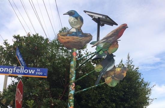 The Perching Bird Pole at the corner of Marine and Longfellow Streets in Santa Monica.