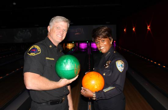 SMFD chief Scott Ferguson and SMPD chief Jacqueline Seabrooks at the Bay Shore Lanes on Monday.