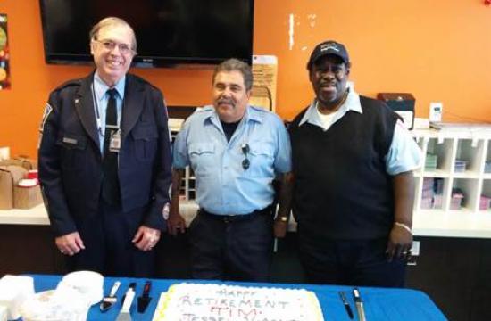 Retiring Big Blue Bus employees (from left) Tim Giroux (left)