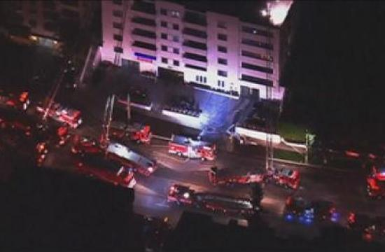 The Westwood apartment blaze was reported at 8:26 p.m. Saturday at the Wilshire Manor Apartments at 10635 W. Wilshire Blvd.