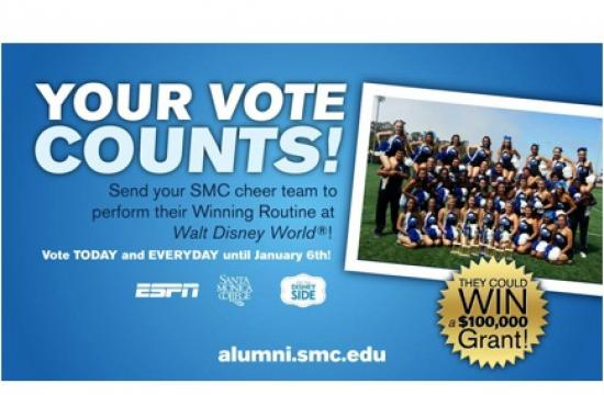 Vote now to support the Santa Monica College Cheer Team.