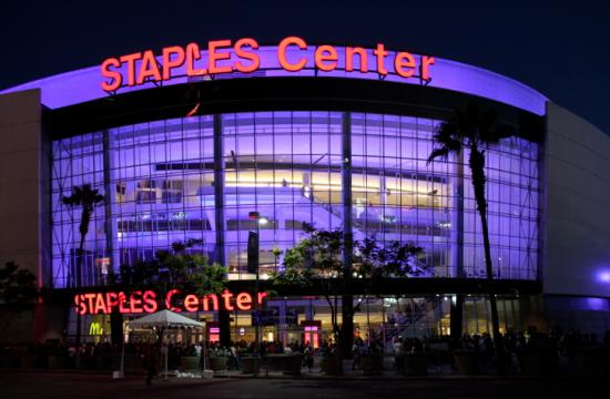 Staples Center in downtown Los Angeles is home to the Lakers