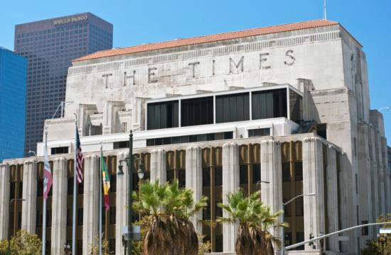 The Los Angeles Times building is located at 202 West 1st Street in downtown Los Angeles.