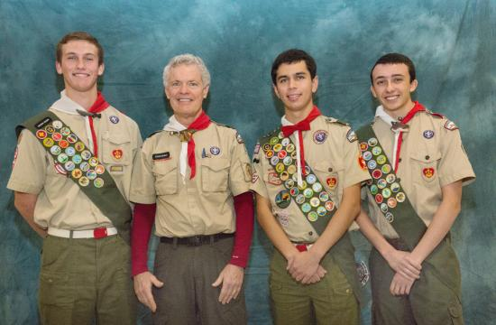January 2015 Troop 2 Eagle Scout candidates (from left) Andrew Melchior Brown