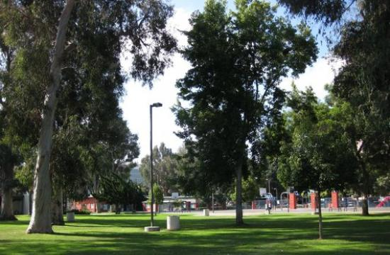 Reed Park is located on the corner of 7th Street and Wilshire Boulevard in Santa Monica.
