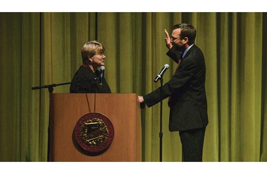 State Senator Ben Allen participated in a community swearing-in ceremony at Santa Monica High School on Saturday. The Honorable Holly E. Kendig