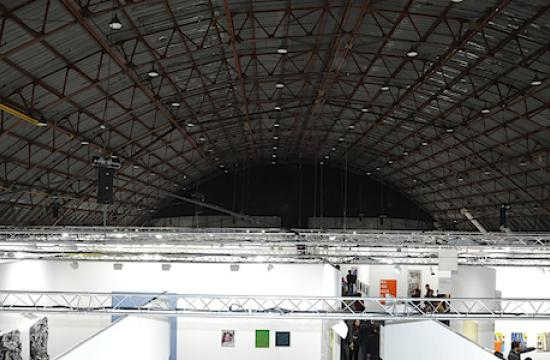 The view above Art Los Angeles Contemporary 2013 at the Barker Hangar in Santa Monica.