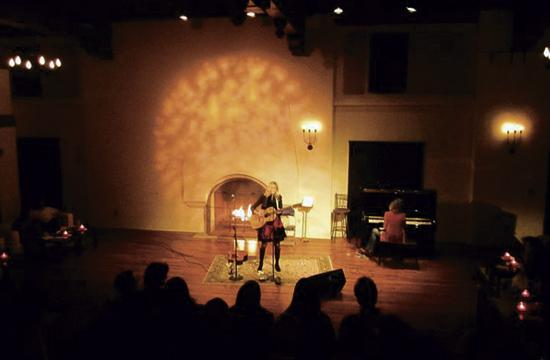 "Amy Raasch performs at a previous ""Fireside at the Miles"" performance."