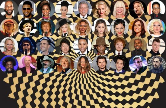 A selection of some of the 57th Grammy Awards performers.