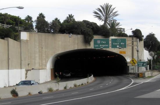 The 10 Freeway runs through the McClure Tunnel in Santa Monica.