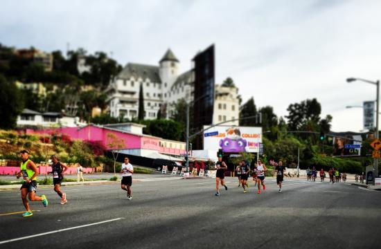 Los Angeles Marathon runners pass Chateau Marmont in West Hollywood.
