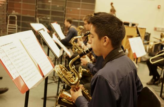 Students of the Jazz Band 1 at Santa Monica High School warm up ahead of one of the longest-running jazz festivals in the region