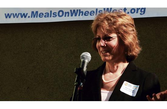 Meals on Wheels America president Ellie Hollander visited the Santa Monica branch on Monday.