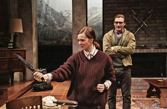 "Laura Linney as the best-selling crime novelist Patricia Highsmith and Seth Numrich as Edward in Joanna Murray-Smith's ""Switzerland"" on stage at The Geffen Playhouse."