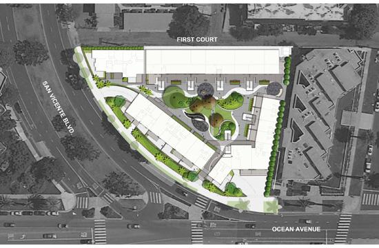A rendering of the property at the corner of Ocean and San Vicente.
