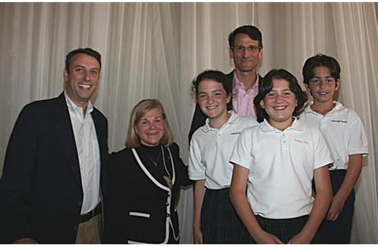 Head of Carlthorpe School Dee Menzies and students.