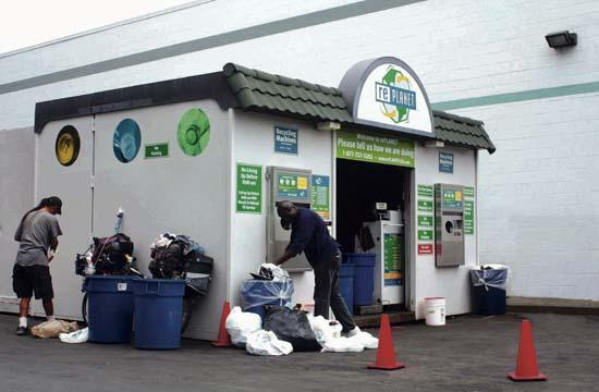 The rePLANET recycling station at Lincoln and Ocean Park.
