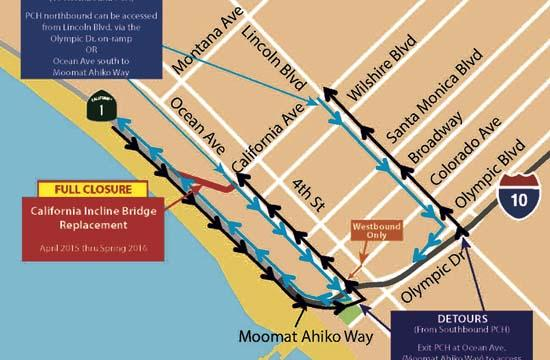 California Incline detours that are now in effect through Spring 2016.