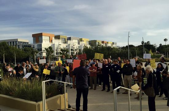 A crowd gathered outside Santa Monica City Hall on Tuesday before City Council's meeting that discussed changes to zoning and land use ordinances. Council will return Tuesday where council members are expected to adopt a first reading after much discussion.