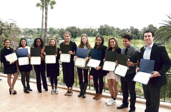 The scholarship award winners from various schools in Santa Monica.