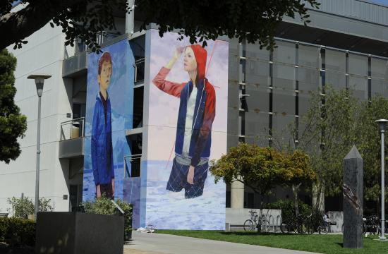 Famed muralist and Santa Monica College alum Andrew Hem painted two murals on SMC's Science building.