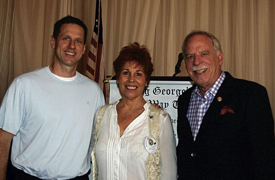 Guest speaker Sam Crowley (left) and Rotarians Tish and  Skip Tisherman.