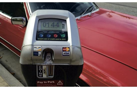 One of the 43 parking meters included in a pilot program on Main Street between Colorado Boulevard and Pico Boulevard that doesn't start to use a motorist's money until the enforcement period actually begins.