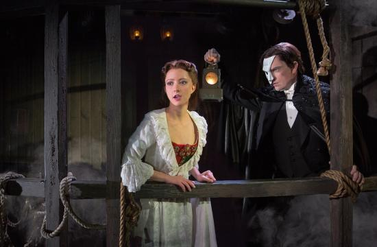 Chris Mann as 'The Phantom' and Katie Travis as his love interest Christine Daaé in 'The Phantom of the Opera' currently on stage at the Pantages Theatre in Hollywood.