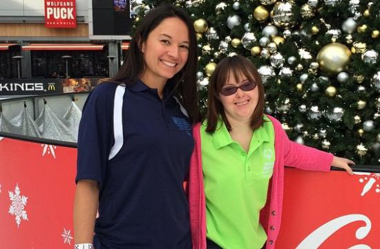 Artistic gymnast Caelyn Griffith will compete at this month's Special Olympics World Games. She is pictured with her coach Natasha Burgos.