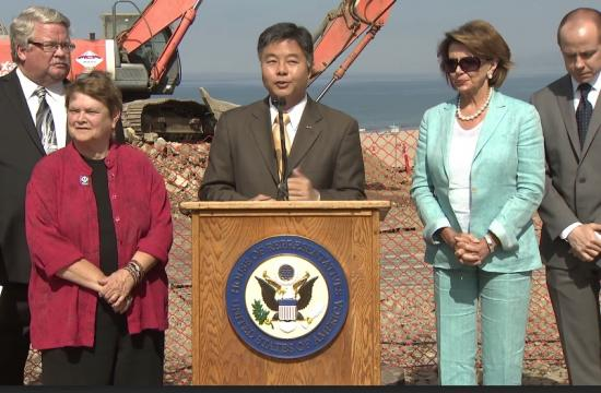 Congressman Ted Lieu (33rd District) flanked by L.A. County Supervisor Sheila Kuehl (left) and House Democratic Leader Nancy Pelosi.