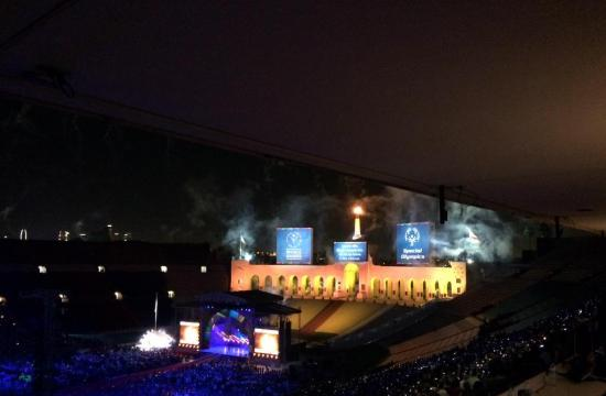 Saturday's nearly 3 1/2-hour opening ceremony at the Los Angeles Memorial Coliseum began with a videotaped welcome by President Barack Obama and ended with the lighting of the Olympic torch in the peristyle end.
