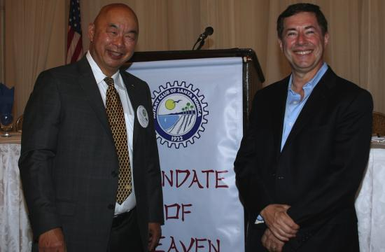 New Santa Monica Rotary Club president Tom Loo and guest speaker Professor Matthew Malkan