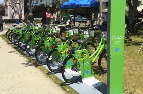 The proposed bike-share system Breeze made its first major public debut at the May 9 Santa Monica Festival in Clover Park