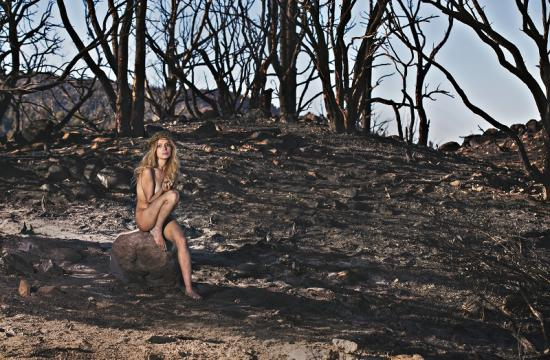 Nudity was used to make important statement amidst the ashes from the recent forest fire at Big Bear. Pictured is Santa Monica actress Marie Paquim.