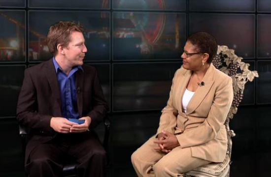 Congresswoman Karen Bass speaks with editor Brenton Garen.