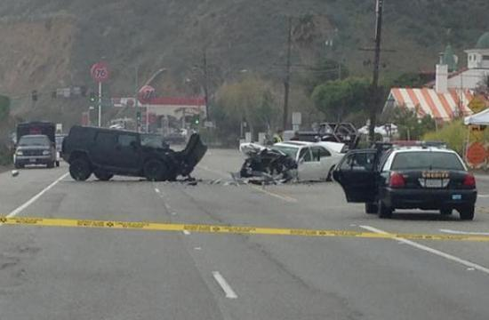 The aftermath of the fatal crash on Saturday