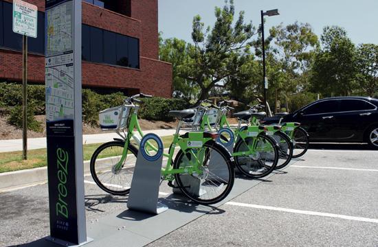 One of the seven active bike stations part of Santa Monica's new bike sharing program